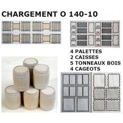 CHARGEMENT WAGON TROCHITA : 2 CAISSES, 4 PALETTES, 4 CAGEOTS & 5 TONNEAUX