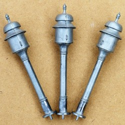 3 WHITE METAL SIGNAL BELLS